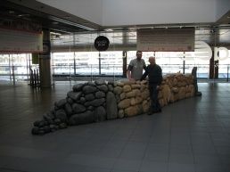 Cillian O'Suilleabhain and Brendan Hogg with the Wall in its new home