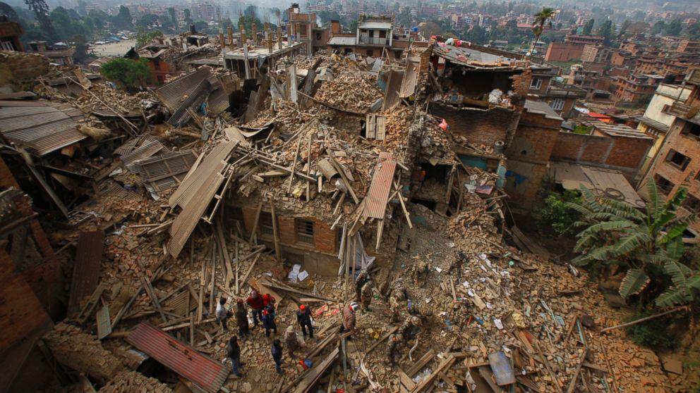 earthquake aftermath in Kathmandu