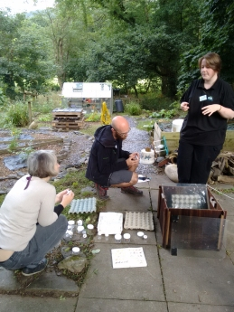 Looking at the moth trap at Rhyd-y-Creuau