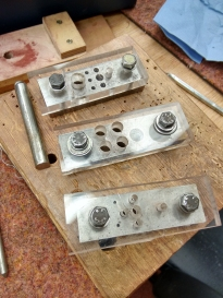 Stephen's homemade hole-punching jigs