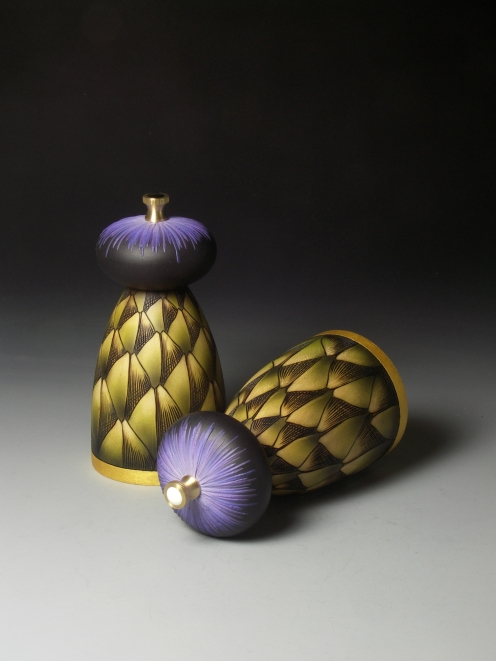 Louise Hibbert Artichoke Salt and Pepper Mills 4